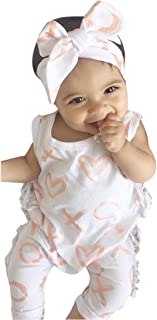 2Pcs Outfit Set Newborn Toddler Baby Girl Boy Print Sleeveless Romper Jumpsuit Sunsuit Clothes