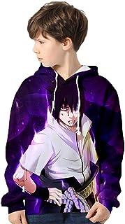 Silver Basic Sudadera Naruto para Niños Sudadera con Capucha Naruto de Moda Sudadera Hokage para Niños Ropa de Abrigo Anim...