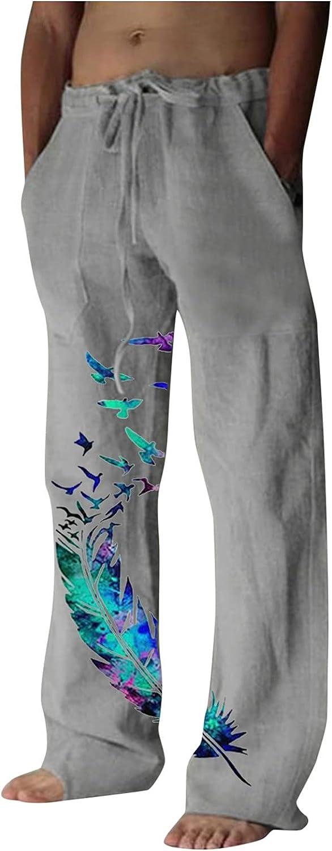 🌻Yowein🌻Men's Cotton Linen Yoga Sweatpants Athletic Lounge Pants Open Bottom Casual Butterflies Pants with Pockets