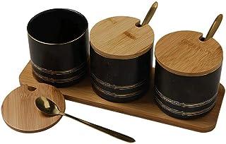 MANXUEUP Ensemble de bidons de Cuisine - 3 Pots de Rangement pour café, Sucre et thé avec couvercles en Bambou, organisate...