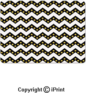 Oversized Mouse Pad,Black Zig Zag Chevron Pattern with Inner Stars Parallel Striped Lines Art Print Decorative Gaming Keyboard Pad,9.8x11.8 inch Non-Slip Office Computer Desk Mat,White Yellow