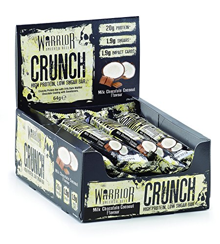 Warrior CRUNCH High Protein Bars - 20g Protein Each - Milk Chocolate Coconut - Pack of 12x 64g