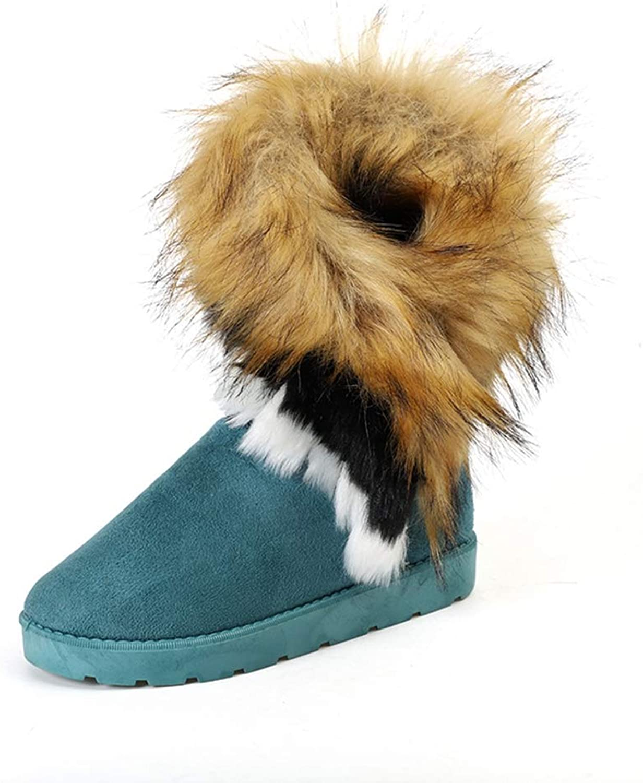 Hoxekle Women Snow Boots Slip On Faux Fur Anti-Slip Flat Round Toe Winter Plush Lining Warm Outdoor Mid Calf Boots