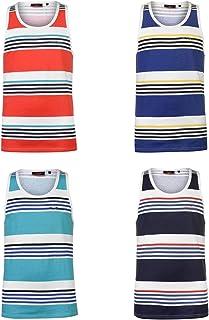 Pierre Cardin Printed Stripe Vest Mens Singlet Tops Tank Navy/White/Blue Small