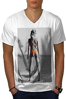 wellcoda Beach Girl Bikini Sexy Mens V-Neck T-Shirt, Orange Graphic Print Tee