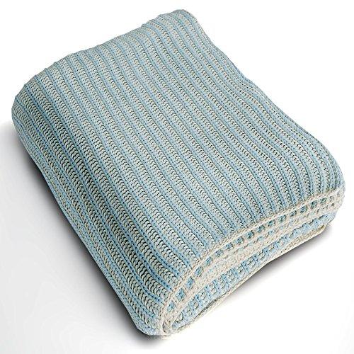 casa pura Couverture Chaude Coton 100% Naturel   épais Plaid tricoté   Bleu et Beige Grosse Maille – Mia, 130x170cm