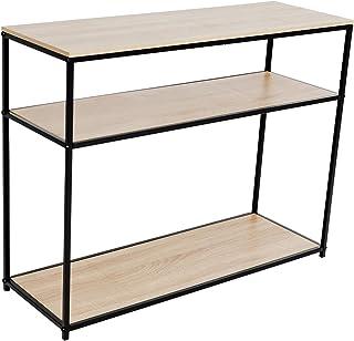 C-Hopetree - Mesa de entrada de consola para sofá de entrada y pasillo estantes de almacenamiento metal negro