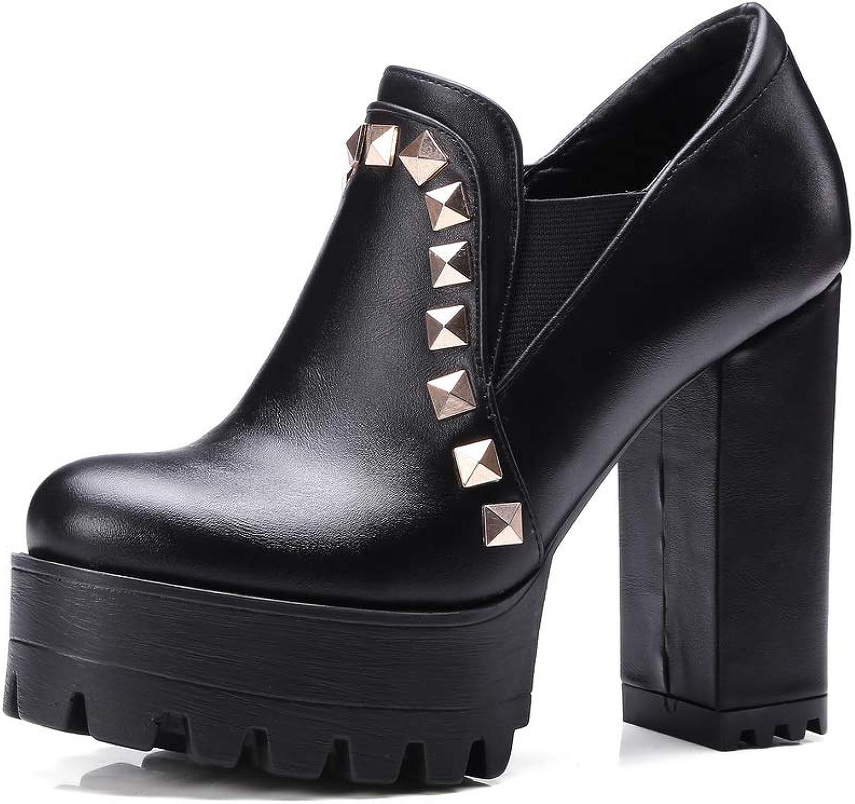 AN Womens Chunky Heels Platform Urethane Pumps shoes DGU00658