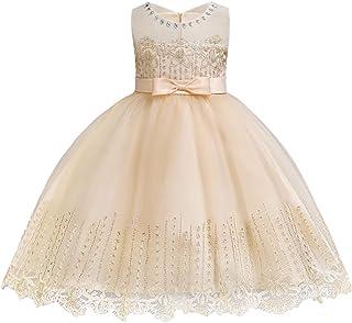 4198edcdb9d LIEEN Girls Sleeveless Wedding Party 3D Embroidered Flower Pageant Dresses