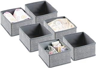 mDesign boite de rangement (lot de 6) – panier de rangement idéal pour ranger vos vêtements, jouets, couches, lingettes, m...