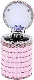 Radish Stars Portable Car Smokeless Ashtray Bling Crystal Lid LED Auto Car Ashtray Cigarette Storage Box - Pink