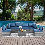 Walsunny 7 Pieces Outdoor Patio Furniture Set, Silver Grey Rattan Wicker Sofa Set, All-Weather Wicker Conversation Set with Seat Cushions and Coffee Table(Aegean Blue)