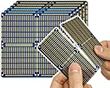 ElectroCookie PCB Prototype Board, Snappable Strip Board with Power Rails for Electronics Projects Compatible for DIY Arduino Soldering Projects, Gold-Plated, 3.8'x3.5' (6 Pack, 3Blue+3Black)