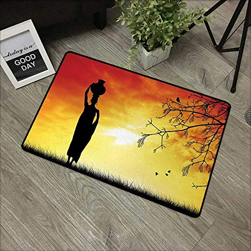 Restaurant mat W31 x L47 INCH African,Silhouette of a Local Lady with Pot on The Head at Sunset Safari Illustration,Black Orange Non-Slip, with Non-Slip Backing,Non-Slip Door Mat Carpet