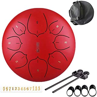 Jtkdl Steel Tongue Drum 8 Notes 10 inches Percussion Instrument with Travel Bag and Mallets, Music Book, Finger Picks (Col...