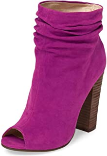 Women Stylish Peep Toe Slouch Ankle Boots Chunky Stacked Heels Party Evening Shoes Size 4-15 US