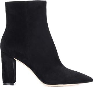 LEHOOR Women Fashion Chunky Block Heel Pointed Toe Ankle Booties Classic Side Zipper Short Boots 4-11 M US, Black, 9