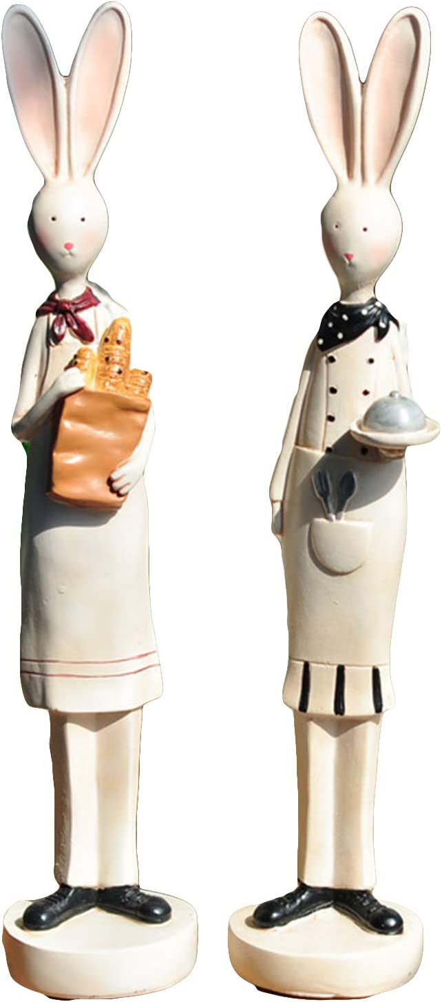 FAMKIT 2Pcs Product Resin Chef Decor Superior Figurine Shape Ho Rabbit