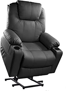 Furgle Power Lift Recliner Chair with Massage, Heat and Vibration Elderly Massage Recliner TUV Certified Living Room Lounge Sofa Faux Leather with 2 Remotes, Side Pockets and Cup Holders - Black