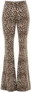 Womens Leopard Cheetah Pattern Animal Print Flared Bell Bottom Pants