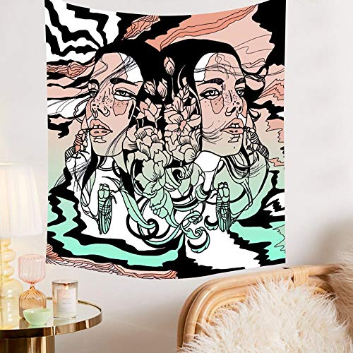 KHKJ Tapiz psicodélico para Colgar en la Pared de niña de Las Flores, tapices de Calavera Hippie para Mujer, Tela de Pared artística, decoración de Granja, Alfombra A1 150x130cm