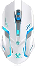 Wireless Gaming Mouse, VEGCOO C8 Silent Click Wireless Rechargeable Mouse with Colorful..