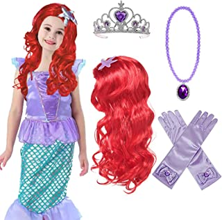 Princess Mermaid Wig Ariel Braid with Princess Tiara Necklace Gloves Princess Mermaid Ariel Dress Up Halloween Costume Cosplay Accessories for Kids Girls Red