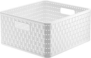 Rotho Country Boîte de Rangement 14L en Rotin, Plastique (PP) sans BPA, Blanc, 14L (32,8 x 30,0 x 16,0 cm)