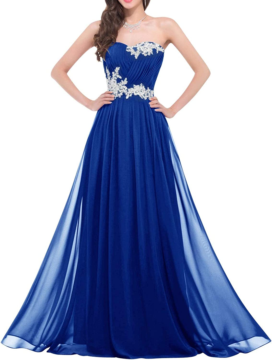 Bess Bridal Women's Lace up Sweetheart Long Prom Evening Dress with Appliques