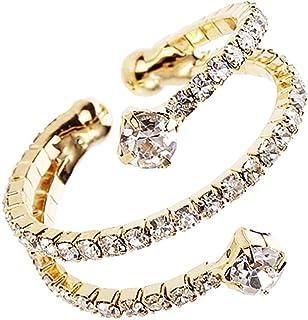 Rosemarie & Jubalee Women's Sparkling Crystal Rhinestone Memory Flex Wire Stacking Cuff Style Ring