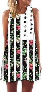 comprar comparacion MOMOXI Vestidos para Mujer Mini Vestido Corto de Playa sin Mangas de Verano para Elegantes Vestido Estampado Retro Verano ...