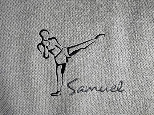 Handtuch bestickt mit Motiv Kickboxer und Namen Frotteetuch Geschenk - Hochwertige Qualität