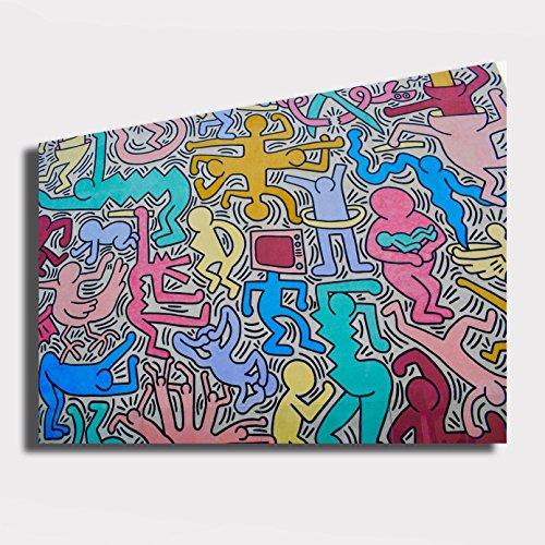 Quadro moderno KEITH HARING Pop Art Pop-Art - RIPRODUZIONE STAMPA SU TELA Quadri Moderni Moderno Arte Astratto Cucina Soggiorno Camera da letto printerland.it (50x70 cm)