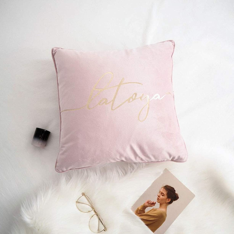 唯一義務的急流Mayalina 装飾的な枕正方形の枕の中心が付いている簡単な金色の手紙のビロードの枕出窓のクッションの枕 (色 : Powder, Size : 45x45cm pillow)