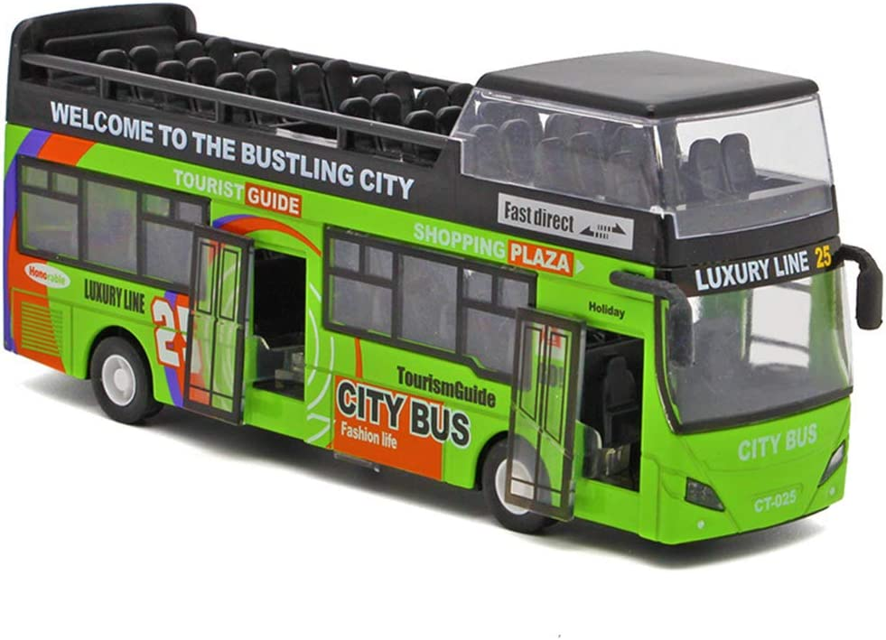 Macao Double Deck Light BusToy Alloy Bus Courier shipping free shipping Music half Mu Model Lighting