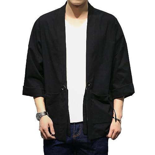 UK Stock Black Silk Bath Robe Kimono Gown Dragon Embroidery Yukata