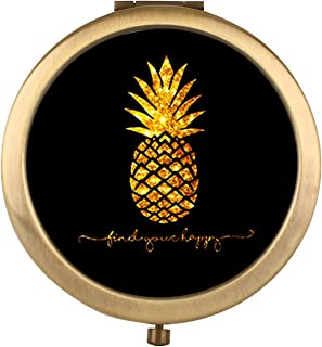 amuseds Pineapple Makeup Mirror [New Version] Portable Hand Mirror Round Mini Pocket Mirror with 2 x 1x Magnification for Woman,Mother,Girls,Great Gift.(Multiple Pictorial Style)