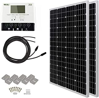 HQST 2 Packs 100 Watt (200W) 12 Volt Monocrystalline Solar Panel Kit with 30A PWM LCD Solar Charge Controller, 20Ft 12AWG Solar Cable, 2 Sets Z-Brackets, MC4 Branch Connectors