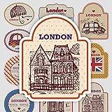 Estilo británico de dibujos animados retro logo maleta portátil teléfono móvil guitarra monopatín pegatinas impermeables pegatinas 12 hojas