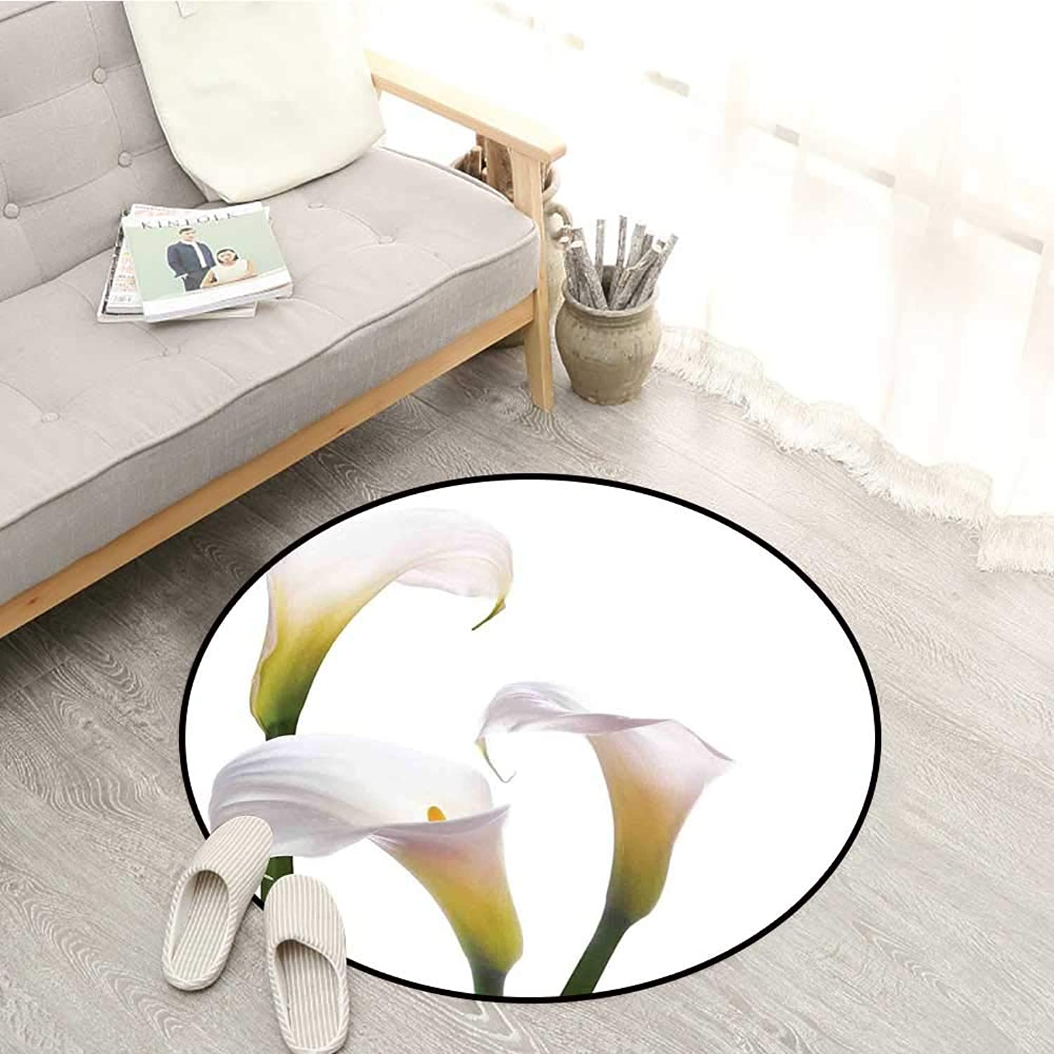 Flower Non-Slip Rugs purplec colord Bouquet Pure Calming Relaxing Modern Floral Design Photo Image Sofa Coffee Table Mat 4'11  White and Green
