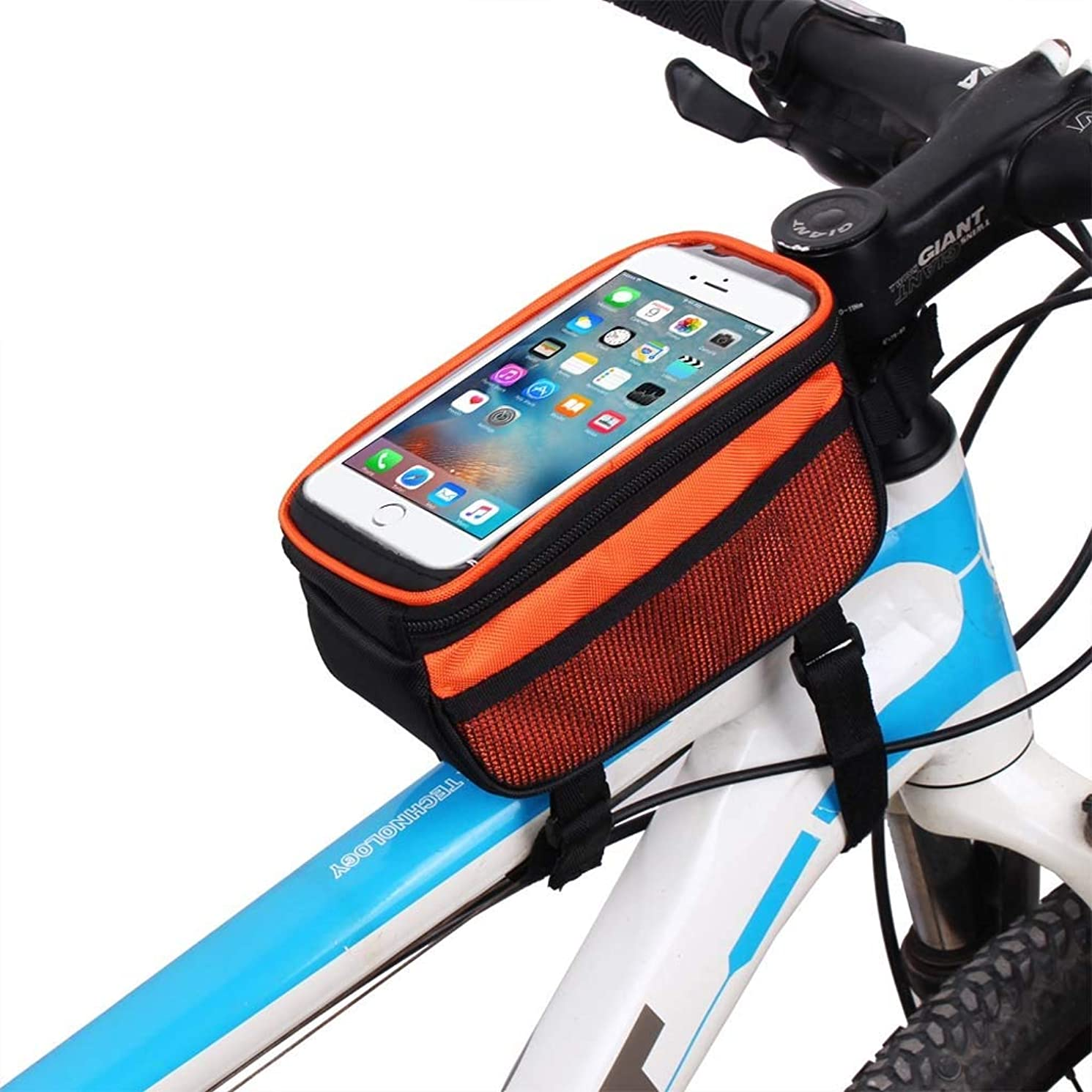 Cloud Bike Frame Bag, Bicycle Phone Mount Cycling Front Top Tube Pouch Frame Phone Holder Bag Pannier (Color : Orange, Size : 5.0 inches)