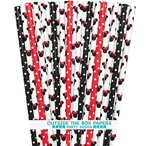 Minnie Mouse Inspired Mouse Ears and Polka Dot Paper Straws - Red White Black - 7.75 Inches - 100 Pack - Outside the Box Papers Brand