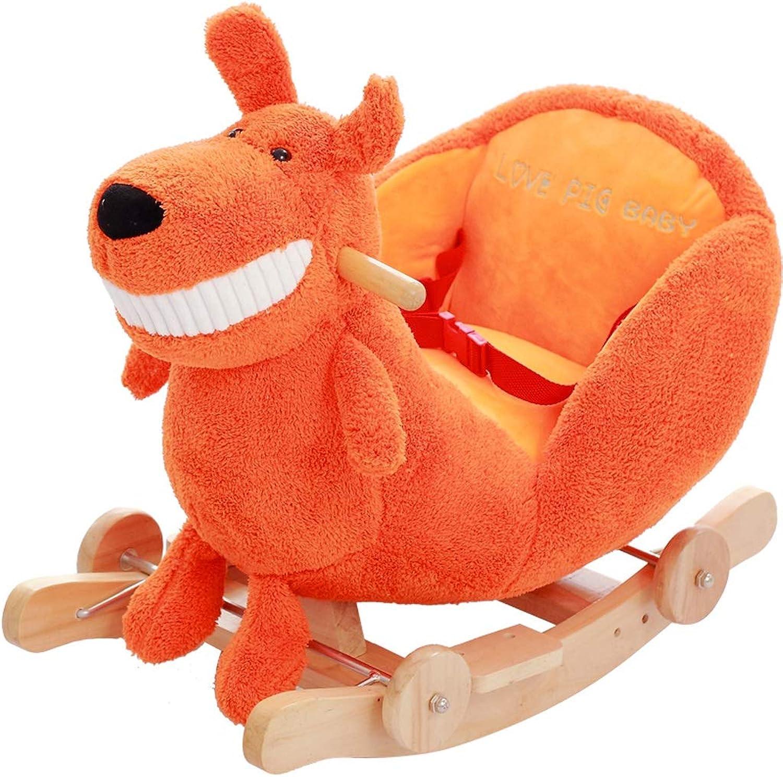 Schaukelstuhl Schaukelpferd Kinder Holz Pferd Feste Schaukelpferd Früherziehung Dual-use-Baby Baby Schaukel Wiegen Musik Lernspielzeug 60  28  44 cm FANJIANI