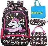 Mochila Unicornio Niños Impermeable Mochila Escolar para Adolescente Pequeñas Mochilas Infantil Bolso para Chicas para La Escuela,Viajes,Intemperie Juego de 3 (Negro)