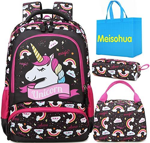 Mochila Unicornio Niños Impermeable Mochila Escolar para Adolescente Pequeñas Mochilas Infantil Bolso para Chicas para La Escuela,Viajes,Intemperie Juego de 3 (Marron Oscuro)