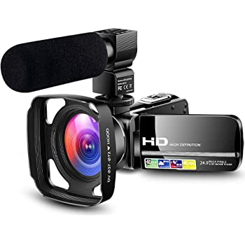 Amazon Com Designed For Beginners Camcorder Video Camera Ultra Hd 1080p Vlogging Youtube Digital Recorder Camera With Powerful Microphone Lens Hood Separate Battery Charger 2 Batteries Electronics