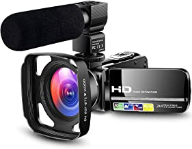 ?Designed for Beginners? Camcorder Video Camera Ultra HD 1080P Vlogging YouTube Digital Recorder Camera with Powerful Microphone, Lens Hood, Separate Battery Charger, 2 Batteries