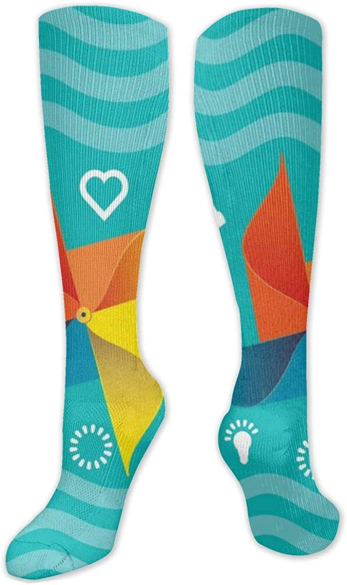 Windmill Design Knee High Socks Leg Warmer Dresses Long Boot Stockings For Womens Cosplay Daily Wear