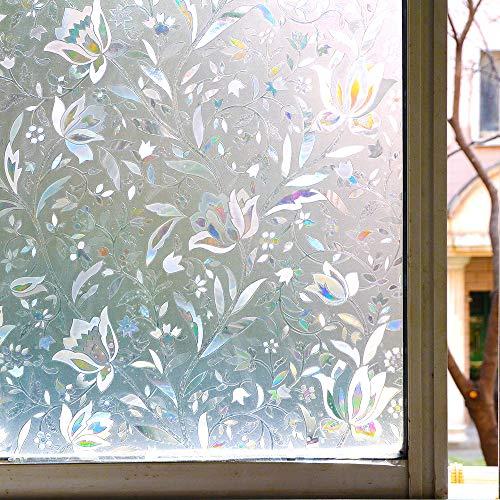 N / A Hochwertige kleberfreie 3D statische Dekoration Sichtschutzfolie Laserfarbe Selbstklebende Milchglasaufkleber, geeignet für Wohnküche Schlafzimmer Glasdekoration Folie A12 40x200cm
