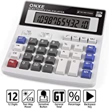 Calculator, ONXE Electronic Desktop Calculator with 12 Digit Large Display Solar and AA Battery Dual Power LCD Display Office Financial Calculators